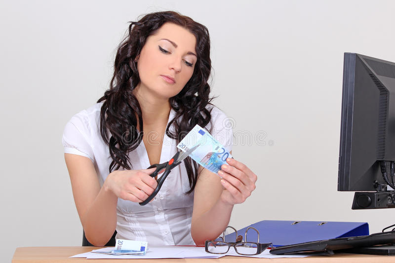 Download Business Woman Cutting Euro With Scissors Royalty Free Stock Photo - Image: 28390555