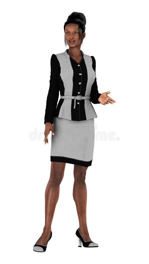 Business Woman. 3D digital render of a beautiful black business woman isolated on white background stock photo