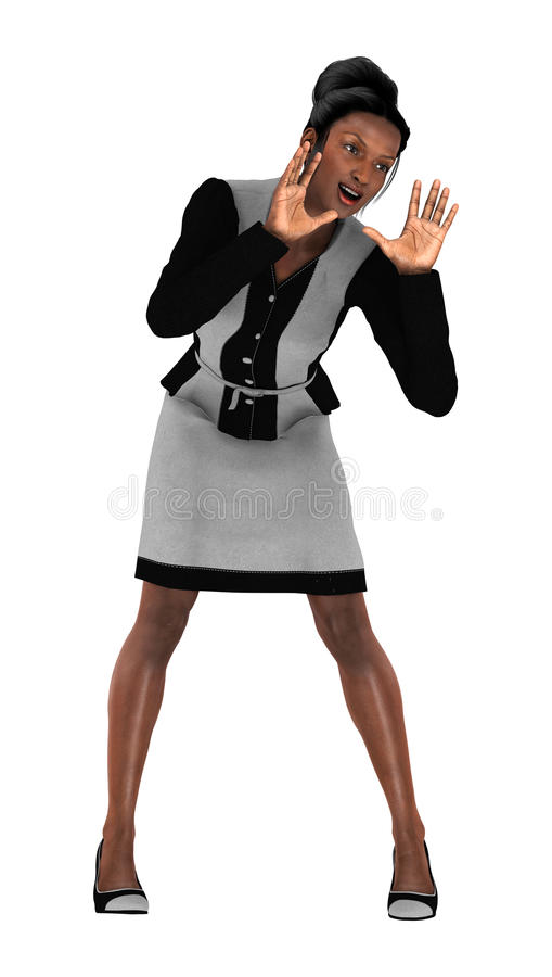 Business Woman. 3D digital render of a beautiful black business woman isolated on white background royalty free stock photo