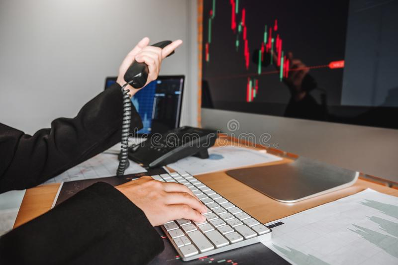 Business woman deal Investment stock market discussing graph stock market trading Stock traders concept.  royalty free stock photos