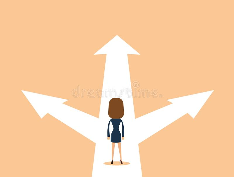 Business woman decision concept vector illustration. Businessman standing on the crossroads with three arrows and directions. Stock flat vector illustration vector illustration