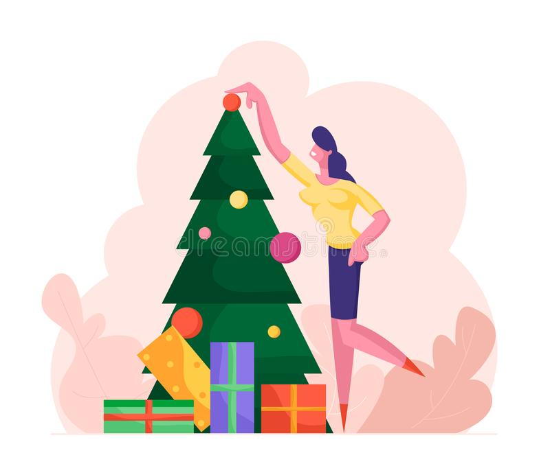 Business Woman Decorating Christmas Tree with Many Gifts and Put Ball on Top. Girl Character Preparing for New Year vector illustration