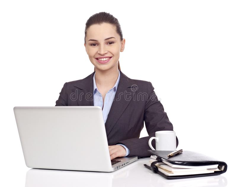 Business woman at desk royalty free stock image