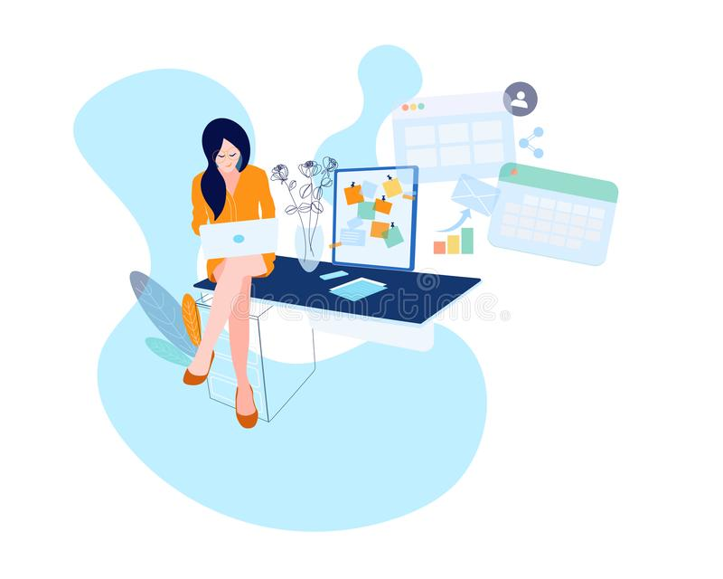 Business woman at the desk is working on the laptop computer. Vector illustration in flat style. Paper sheet, happy royalty free illustration