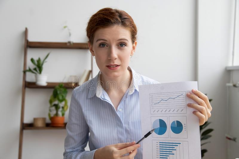 Business woman discussing financial report make conference video call. Business woman giving online presentation discuss financial report talking make conference stock image