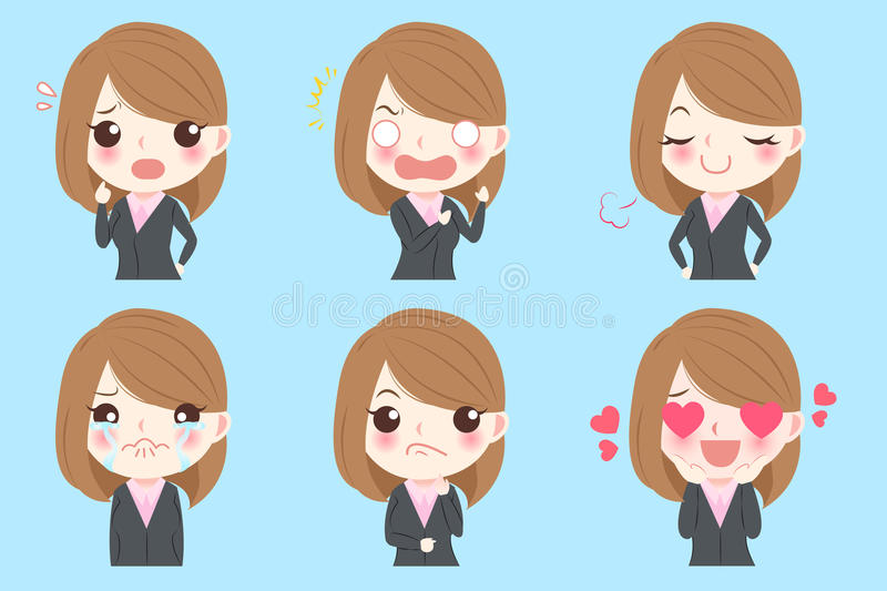 Business woman do emotions vector illustration