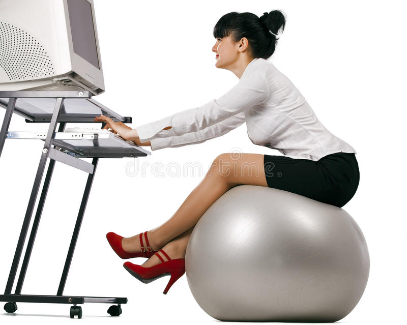 Business woman doing exercise royalty free stock images