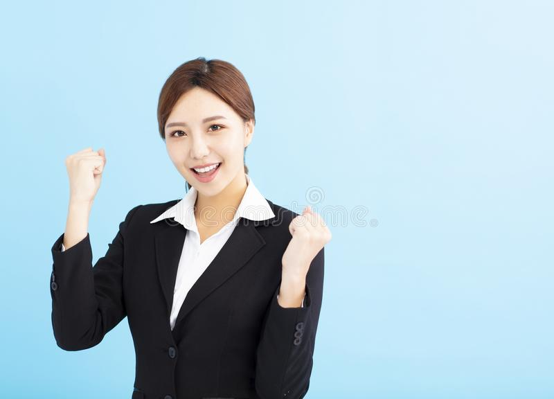 business woman doing winner gesture royalty free stock images