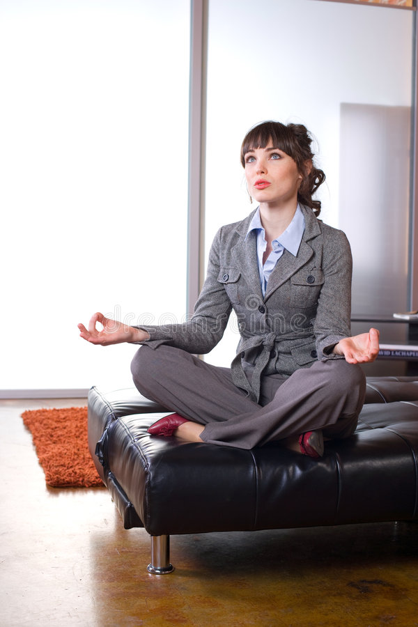 Download Business Woman Doing Yoga In A Modern Office Stock Image - Image: 8651781