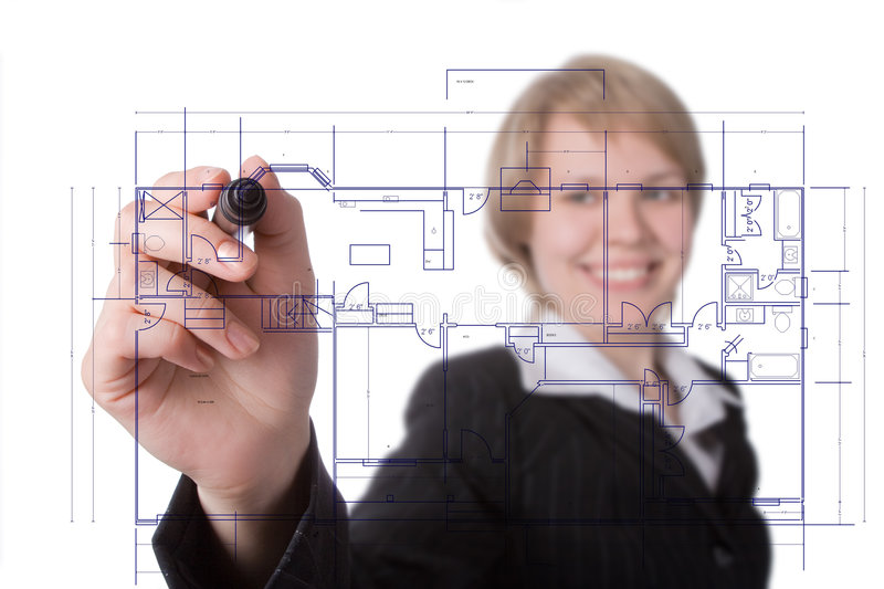 Business woman draw graph stock photo