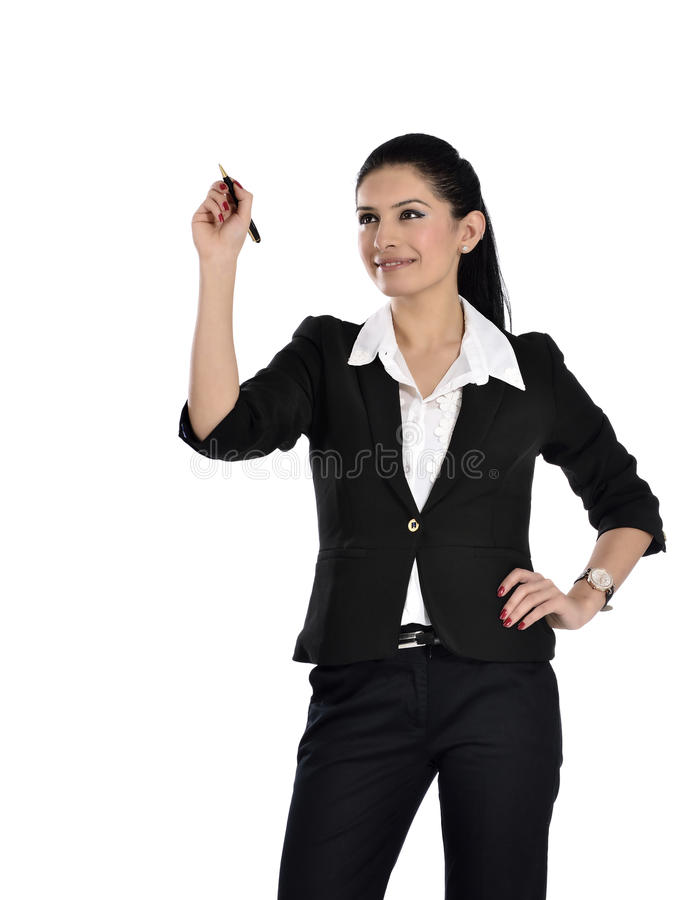 Download Business Woman Drawing A Chart Stock Image - Image: 37233329