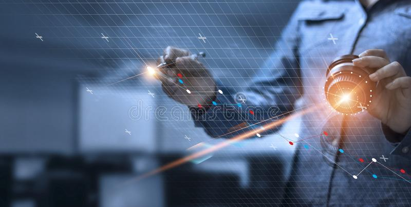 Business woman drawing and control global structure royalty free stock images