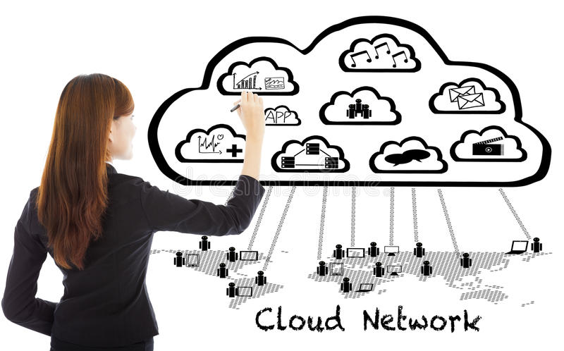 Business woman drawing a global cloud computing applications royalty free stock photography