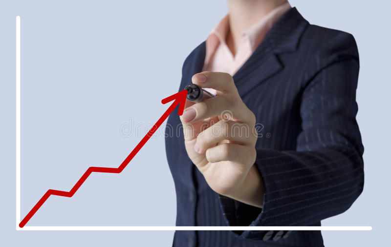 Download Business Woman Drawing A Graph On Screen Royalty Free Stock Images - Image: 34313519