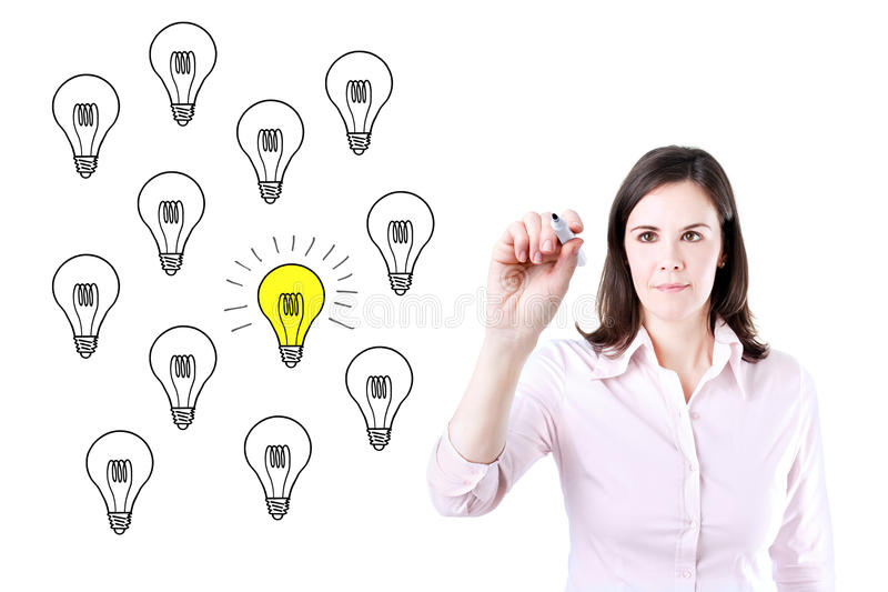 Business woman drawing a great idea concept. Business woman drawing a great idea concept royalty free stock photo