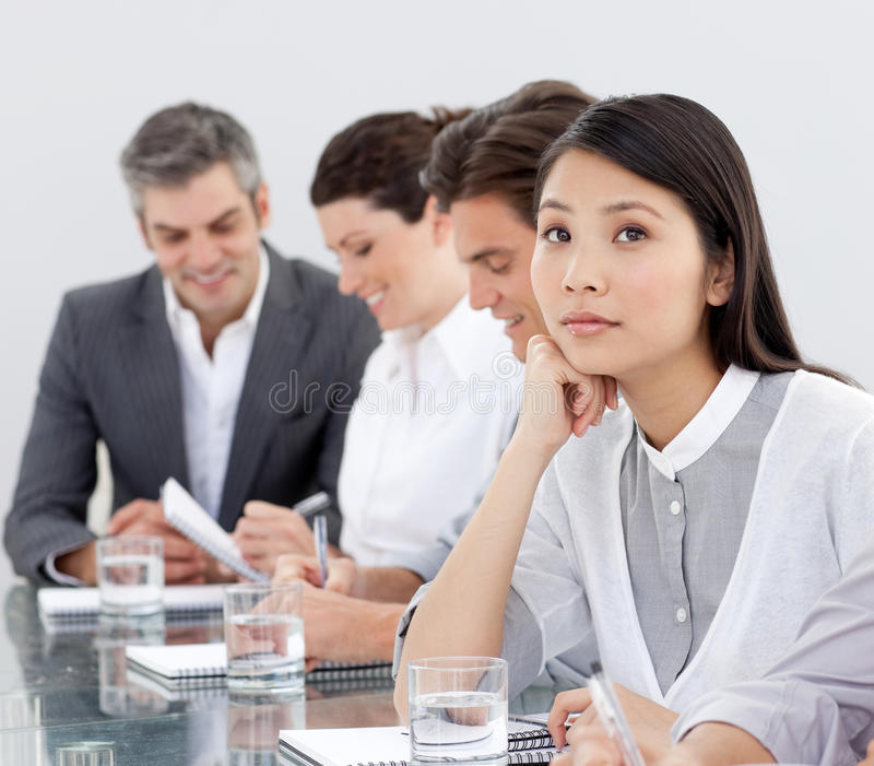 Download A Business Woman Is Dreaming In A Meeting Stock Image - Image: 12191577