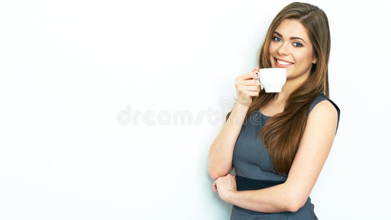 Business woman drink coffee, hold white coffee cup. royalty free stock images