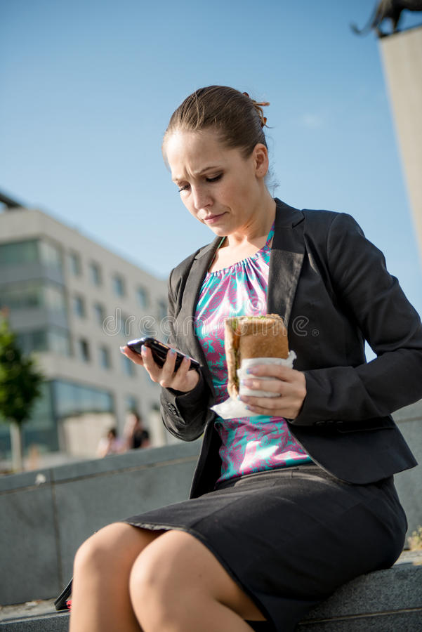 Download Business Woman Eating - Problems Stock Photo - Image: 25148522