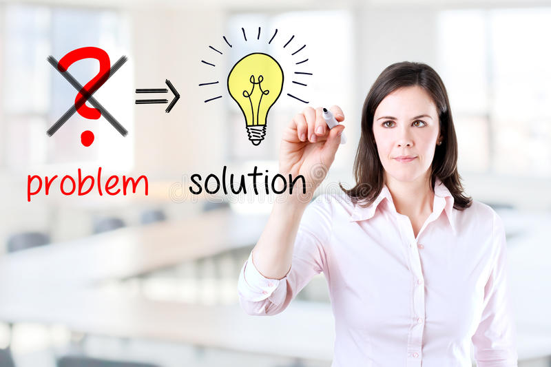 Business woman eliminate problem and find solution. Young business woman eliminate problem and find solution. Office background stock image