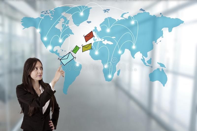 Email and world map royalty free stock images