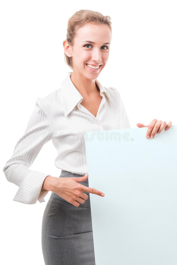 Business woman with empty poster royalty free stock photo