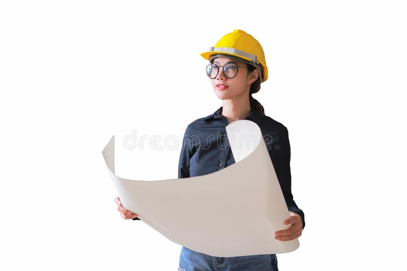 Business woman engineer developer holding blueprint. with clipping path stock image