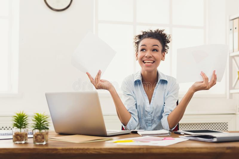 Business woman enjoying successful project stock image