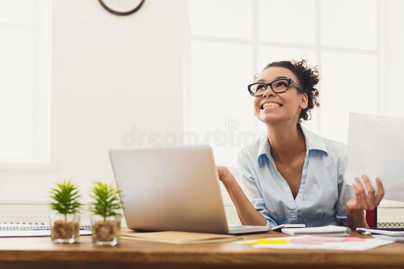 Business woman enjoying successful project royalty free stock photos