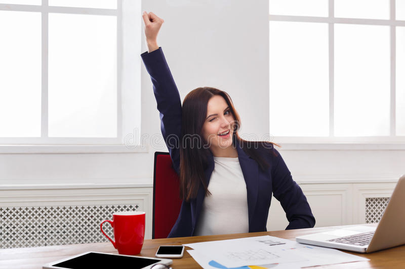 Business woman enjoying successful project stock images