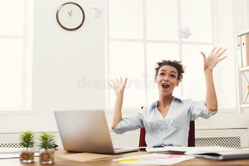 Business woman enjoying successful project royalty free stock image