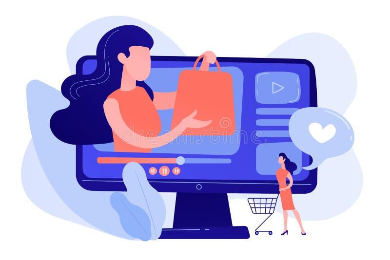 Shopping sprees video concept vector illustration. stock illustration