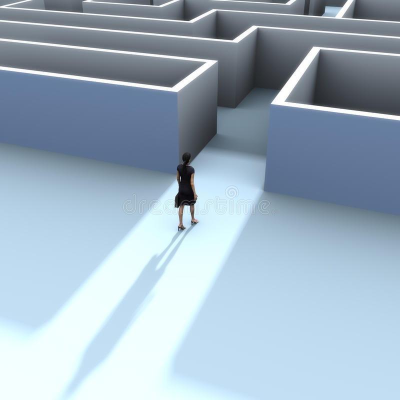 A business woman at the entrance to a maze stock illustration