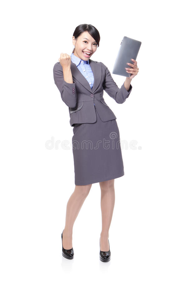 Download Business Woman Excited Using Tablet PC Stock Image - Image: 28278453