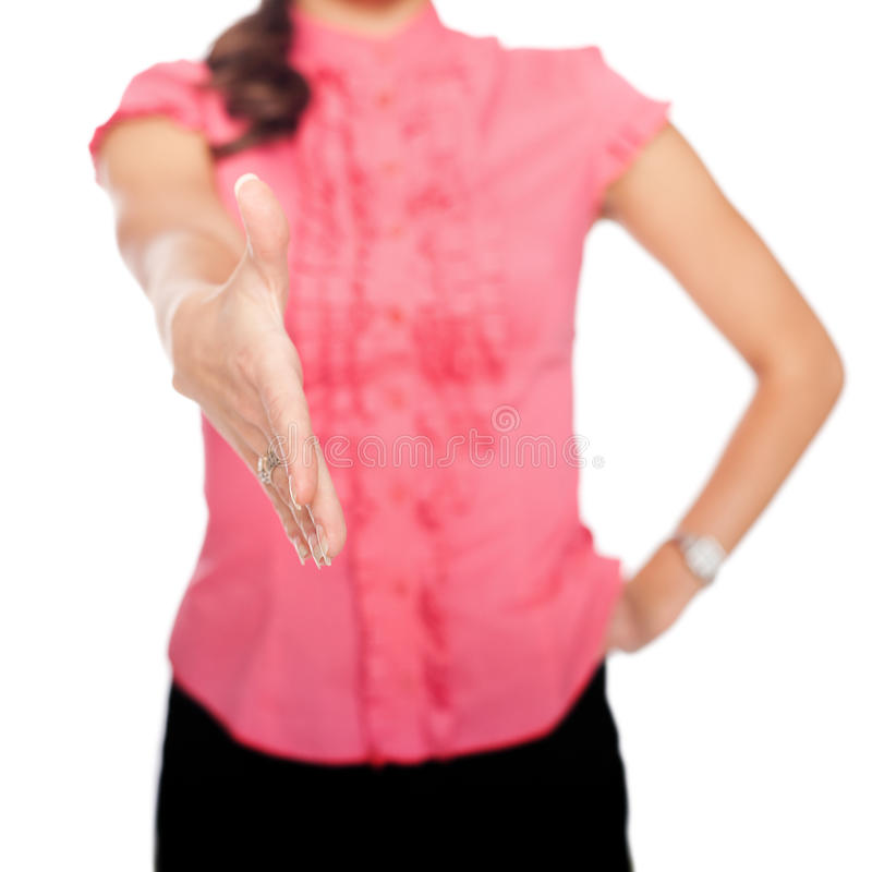Business woman extending hand to shake