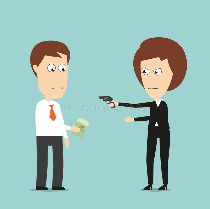 Business woman extorts money with a gun stock illustration