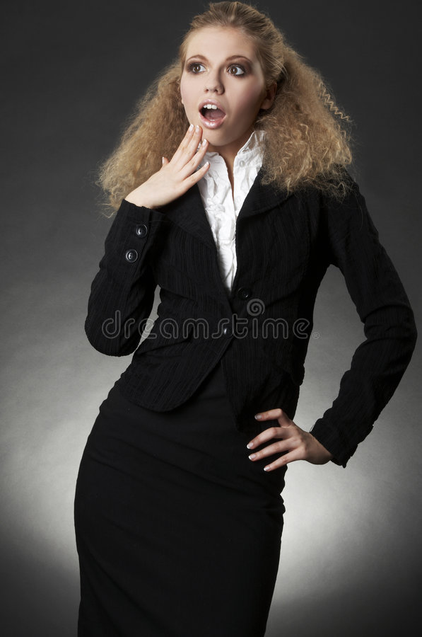 Business Woman With Facial Expression Royalty Free Stock Image