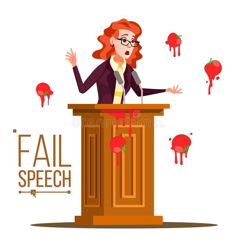 Business Woman Fail Speech Vector. Unsuccessful Messaging. Bad Feedback. Having Tomatoes From Crowd. Tribune, Rostrum. With Microphone. Failed Communication royalty free illustration
