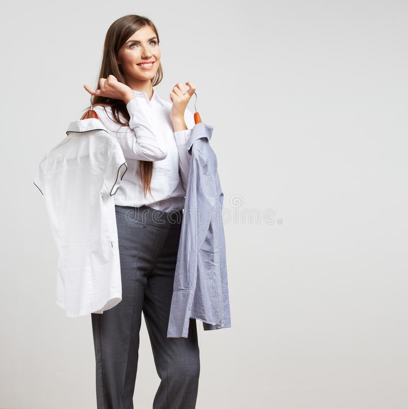 Business woman fashion style isolated portrait. Female model st. Udio poses. Young, beautiful businesswoman royalty free stock image