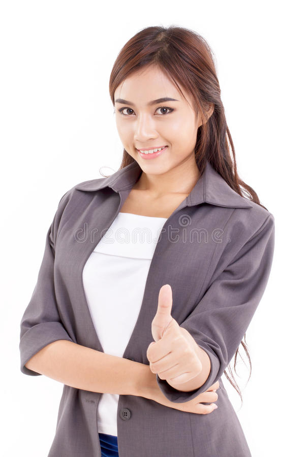Business woman, female executive giving thumb up hand gesture. On white background royalty free stock photo