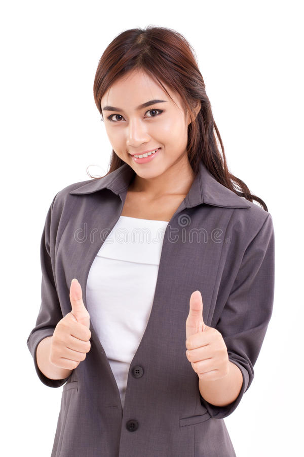 Business woman, female executive giving two thumbs up. Hand gesture on white background royalty free stock photography