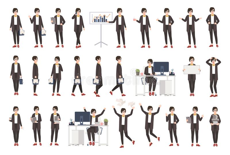 Business woman or female office worker dressed in smart clothing in different postures, moods, situations and expressing vector illustration