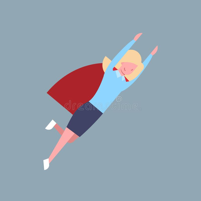 Business Woman Fly In Red Cape, Hero Businesswoman Isolated. Flat Vector Illustration vector illustration