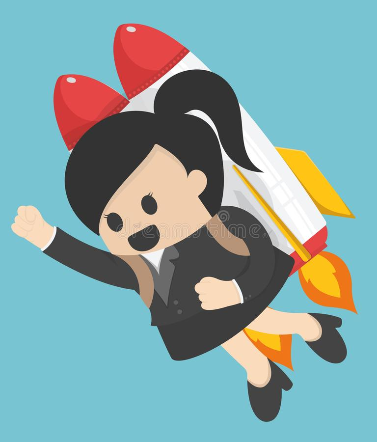 Business woman flying off with jet pack. Eps . 10 vector illustration