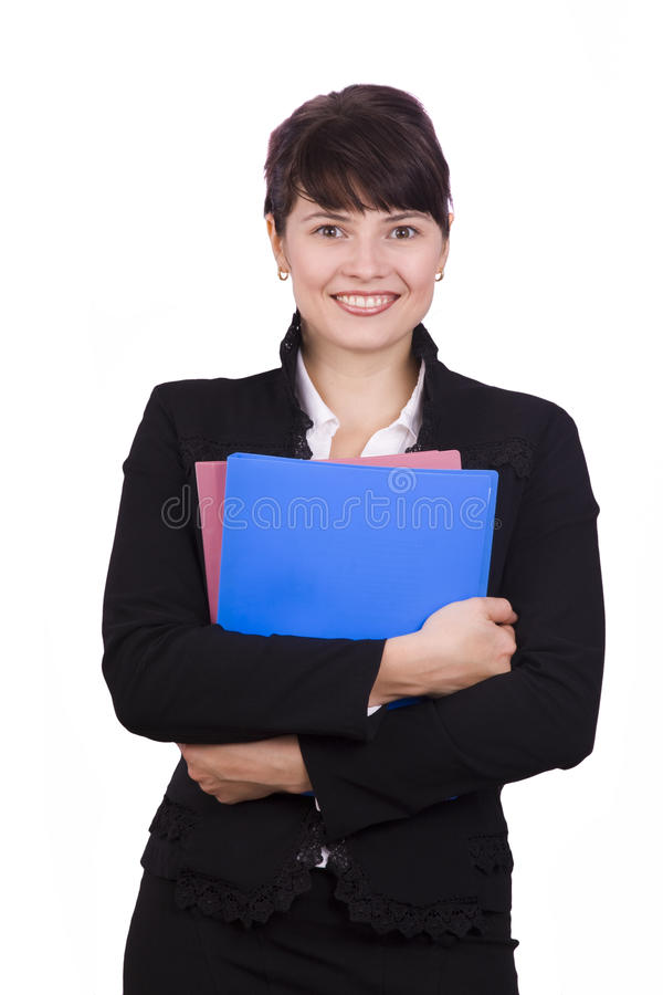 Business woman with folder. stock image
