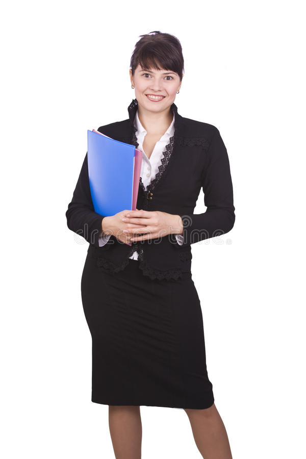 Business woman with folder. royalty free stock photo