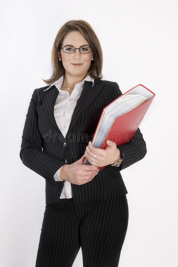 Business woman with folder in her hands. stock photography