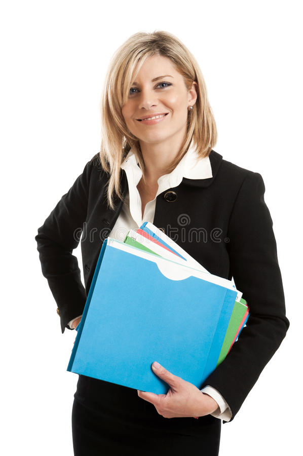 Business woman with folders stock photos