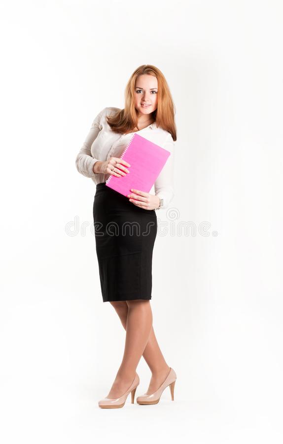 Download Business Woman With Folders On Light Background Stock Photo - Image: 28088048