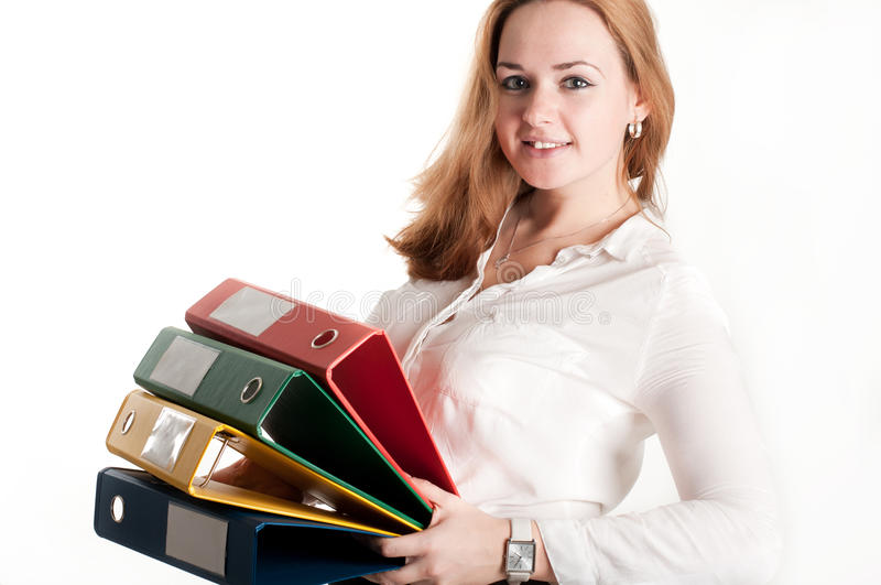 Business Woman With Folders On Light Background Royalty Free Stock Photo