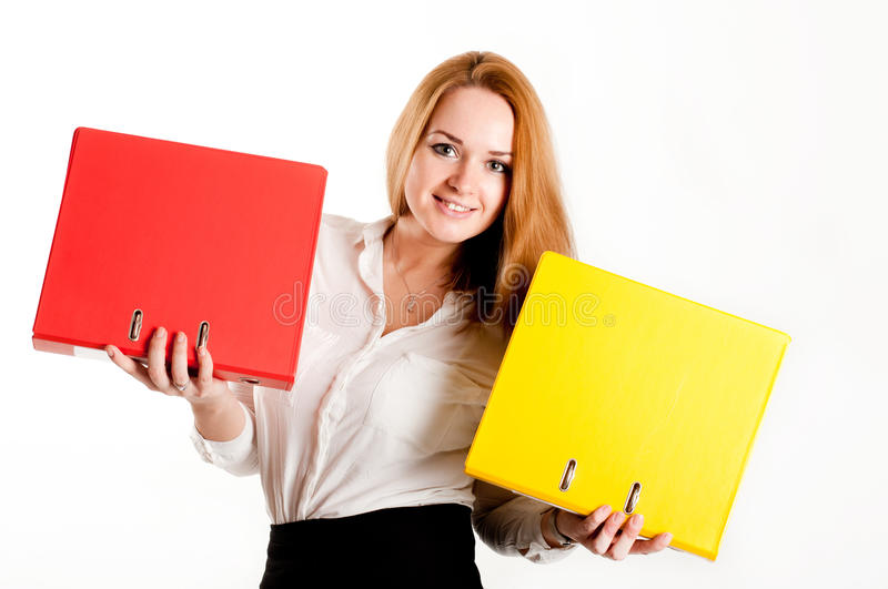Download Business Woman With Folders On  Light Background Stock Photo - Image: 28295176